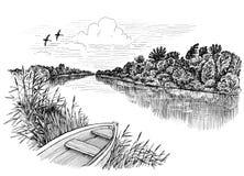 River & boat Stock Image