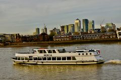 River boat on the river thames stock photography