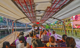 River boat transporting passengers and tourist down Chao Praya river Royalty Free Stock Photo