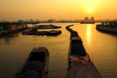 River Boats - Evening Shanghai Sky - China Barge Stock Photos