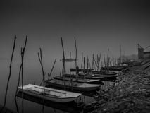 River boats on the misty day Stock Image