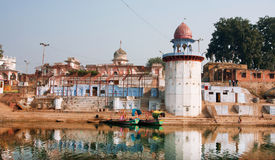 River boats moored to the old indian city ghat Stock Images
