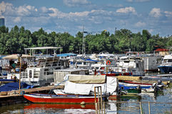 River boats in small marina Stock Photography