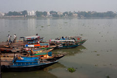 River boats waiting for the passengers at the dock Stock Images