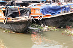 River boats waiting for the passengers at the dock in Kolkata Royalty Free Stock Images