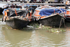 River boats waiting for the passengers at the dock in Kolkata Stock Images