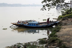 River boats waiting for the passengers at the dock in Kolkata Stock Photos