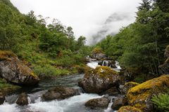 River Bondhuselva flowing out of lake Bondhus in Folgefonna national park, Hordaland county, Norway.  stock images