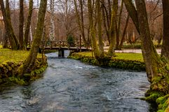 River Bosna flowing. The beautiful river Bosna flowing through the famous park Vrelo Bosne royalty free stock image