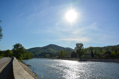 River Bosnia in small Town Maglaj Royalty Free Stock Photography