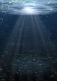River Bottom Water. Under water scene of river or lake bottom with bubbles and sunlight rays. Illustration and photography stock illustration