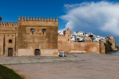 River Bou Regreg seafront and Kasbah in medina of Rabat, Morocco. Rabat is the capital of Morocco. Rabat is located on the Atlantic Ocean at the mouth of the stock photo