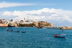 River Bou Regreg seafront and Kasbah in medina of Rabat, Morocco. Rabat is the capital of Morocco. Rabat is located on the Atlantic Ocean at the mouth of the royalty free stock images
