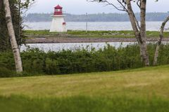 River Bourgeois Lighthouse in Nova Scotia Royalty Free Stock Image