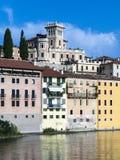 River brenta with  romantic village Basano del Grappa Royalty Free Stock Photo