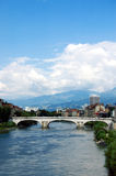 River and bridge. View of the Isere River as it Royalty Free Stock Images