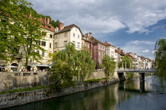 River with bridge. River in the historic center of ljubljana in slovenia Stock Photography