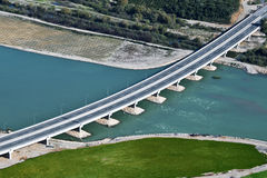 River bridge, aerial view. Highway bridge built over river, aerial view royalty free stock photography