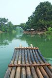 River, Bridge and Bamboo raft Stock Image