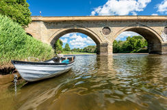 River, bridge, boat at Coldstream Stock Photos