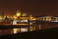 River , bridge and cathedral at night Stock Photography