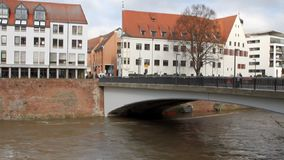 River, bridge and city. Ulm, Baden-Wruttemberg, Germany. River, bridge in city Ulm, Baden-Wruttemberg, Germany; 06-11-2017 stock video footage