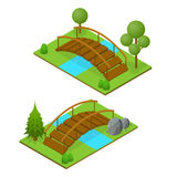 River Bridge Isometric View. Vector Royalty Free Stock Photo