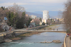 River and bridge in Sochi, Russia Royalty Free Stock Image
