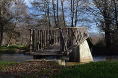 River bridge sunny day small river. Mesopotamia. Royalty Free Stock Photos