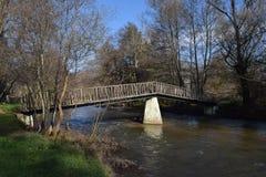 River bridge sunny day small river. Mesopotamia. Royalty Free Stock Photo