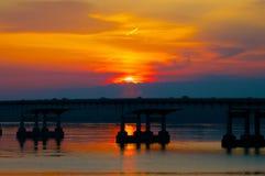 River Bridge Sunrise Royalty Free Stock Photos
