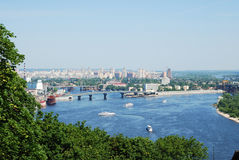 River with bridges, islands and ships in the centre of Kyiv Stock Photos