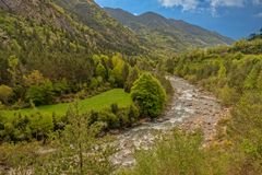 The river in broto with the blue sky, pyrenees, ordesa. Spain Stock Images