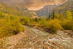 The river in broto at sunset, pyrenees, ordesa. Spain Royalty Free Stock Images
