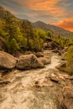 The river in broto at sunset, pyrenees, ordesa. Spain Stock Photo