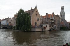 River in Brugge. View from bridge in Brugge stock photos