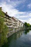 River with buildings. Main river of ljubljana in slovenia Royalty Free Stock Photography