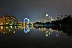 A river with buildings and Ferris wheel behind Royalty Free Stock Photo