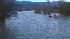 River burst its banks. After heavy rains stock video