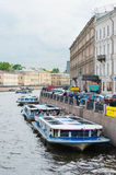 River buses in St. Petersburg, Russia Stock Image