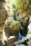 River Bussento and wwf Oasis. The narrow cave and gorges of the river Bussento resurgence, a natural reserve   in Cilento national park Stock Image