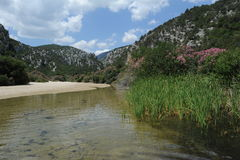 The river at Cala Luna on the island of Sardinia Royalty Free Stock Images