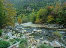 Autumn landscape of the Chaya River in the Rhodopes Mountain, Bulgaria. royalty free stock photos