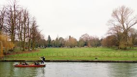 River Cam, Cambridge, England. The Backs is a picturesque area to the east of Queen`s Road in the city of Cambridge, England, where several colleges of the royalty free stock photo