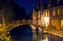 river Cam and old college buildings in the night. Cambridge Stock Photos
