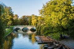 River Cam. With punting boats at Trinity college Cambridge stock photo