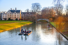 River Cam and tourist boat, Cambridge Stock Photography