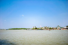River Can Tho. Gentle rivers , deep blue sky in the vast blue Stock Photography