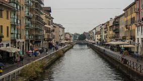River canal through milan royalty free stock image