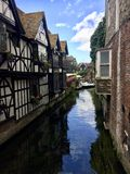 River at Canterbury. Old traditional houses river Canterbury stock image